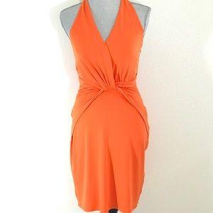 Halston Heritage Orange Twist Jersey Dress